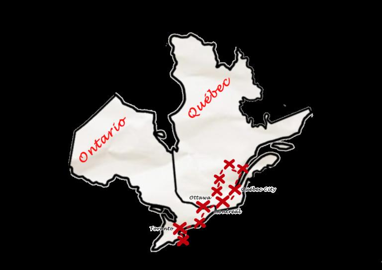 Carte Canada Est - Zoom