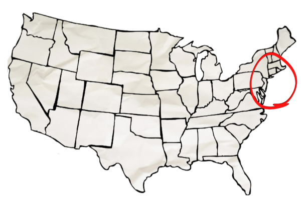 Carte Est USA - Zoom